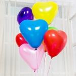 """ลูกโป่งหัวใจ เนื้อสแตนดาร์ทสีมาตรฐาน คละสี ไซส์ 12 นิ้ว แพ็คละ 10 ใบ (Heart Latex Balloon - Mixed Standard Color 12"""")"""