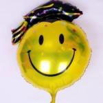 """ลูกโป่งฟลอย์รูปหน้ายิ้มสวมหมวกรับปริญญา สีดำ ขนาดจัมโบ้ 32 นิ้ว - Smiley 32"""" Congratulation Balloon/ Item No. TL-F013"""