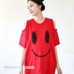 เสื้อคลุมท้องไหล่เว้าแขนสั้น ลายหน้ายิ้ม : สีแดง รหัส SH133