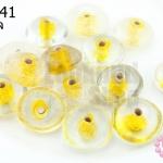 ลูกปัดแก้ว ทรงจานบิน สีเหลืองสอดไส้ (ใส) 11มิล(1ขีด/100กรัม)