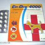 En-Dex-4000 ( ไอเวอร์เม็คติน ชนิดเม็ด ) บรรจุกล่องละ 10 เม็ด