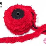 พู่ไหมพรม หางกระรอก สีแดง กว้าง 5 ซ.ม(1หลา/90ซ.ม)