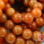 หินหยกน้ำผึ้ง กลม เหลืองส้ม 10มิล 35ซม 35เม็ด (จีน)
