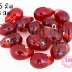 ลูกปัดแก้ว ทรงหยดน้ำ สีแดง 10x15 มิล (1ขีด/57ชิ้น)