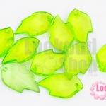จี้ใบไม้ พลาสติก สีเขียวอ่อน 15X25มิล(1ขีด/96ชิ้น)