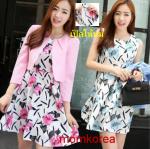 MK6018 ชุดเปิดให้นม 2 in 1 ใส่สทำงานแฟชั่นเกาหลี มี 2 สีให้เลือก เสื้อตัวนอก+เดรสตัวใน มีซิปซ่อนเปิดให้นมน้อง