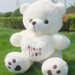 ตุ๊กตาหมีบอกรัก I Love You ตุ๊กตาสื่อรัก มอบให้คนพิเศษ ขนาด 90 เซนติเมตร  สีขาว