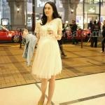 JK015 ชุดคลุมท้องใส่ไปงานแต่ง แฟชั่นเกาหลี สีขาวมีลูกไม้ แขนสั้น เนื้อผ้าดี สวมใส่สบาย ใส่แล้วดูหรูและสวย
