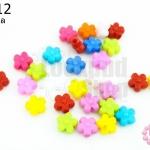 ลูกปัดพลาสติก สีขุ่น ดอกไม้ คละสี 7มิล(1ขีด/1,210เม็ด)