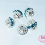 ตัวแต่งสร้อยหินนำโชคบอลเพชร แถวเดียวสีเงิน เพชร สีฟ้าเข้ม 10 มิล