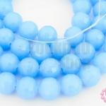 คริสตัลจีน ทรงกลมเจียร สีน้ำเงินอ่อนขุ่น 10มิล(1เส้น)