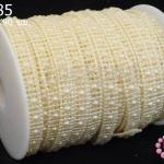 มุกพลาสติกเส้นยาว สีครีม 10มิล (1หลา/90ซม)