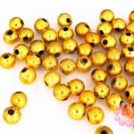 ลูกปัดพลาสติกเคลือบสีทอง กลม 6มิล (1ขีด/955ชิ้น)
