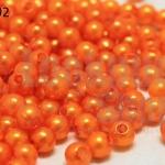 ลูกปัดมุก พลาสติก สีส้ม 4มิล (1ขีด/100กรัม)