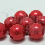 ลูกปัดมุก พลาสติก สีแดง 12มิล 1 ขีด (118ชิ้น)