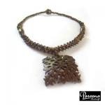 สร้อยคอกะลามะพร้าวลายไทย Coconut Shell Necklace