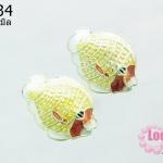 ลูกปัดกังไส รูปปลา สีเหลือง-ขาว 20 mm.