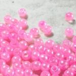 ลูกปัดมุก พลาสติก สีชมพู 6 มิล 1 ขีด