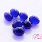 ลูกปัดแก้วมูราโน่ ไม่มีรู ทรงไข่ สีน้ำเงิน 10x12 มิล(1ชิ้น)