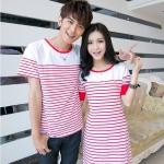 เสื้อคู่รัก ชายเสื้อยืดคอกลม + หญิงเดรสคอกลมสีขาว แต่งลายแดงขาว +พร้อมส่ง+