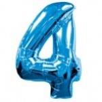 """ลูกโป่งฟอยล์รูปตัวเลข 4 สีฟ้า ไซส์เล็ก 14 นิ้ว - Number 4 Shape Foil Balloon Size 14"""" Blue Color"""