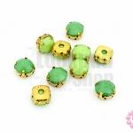 เพชรแต่ง กลมสีเขียว+เขียวอ่อน ฐานสีทอง ไม่มีรู 10มิล(10ชิ้น)