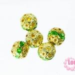 ตัวแต่งสร้อยหินนำโชคบอลเพชร แถวเดียวสีทอง เพชร สีเขียว8 มิล