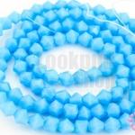 คริสตัลจีน ทรงไบโคน สีน้ำเงินอ่อนขุ่น 4มิล(1เส้น)
