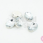เพชรแต่ง ทรงรีสีขาว ฐานสีโรเดียม ไม่มีรู 13X18มิล(5ชิ้น)