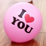ลูกโป่งกลมนำเข้า พิมพ์ลาย I Love You สีชมพู ไซส์ 12 นิ้ว แพ็คละ 10 ใบ ( I Love You Printing Balloon - Pink Color )