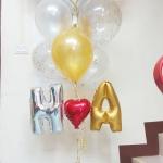 Set#6 ช่อลูกโป่ง Happy Anniversary Heart with Wings(แบรนด์Anagram)+ลูกโป่งกลิตเตอร์ ไซส์ 12 นิ้ว+ตัวอักษรฟลอย์ 14 นิ้ว+ฟอลย์หัวใจ 10 นิ้ว