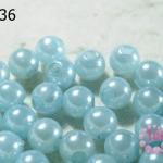 ลูกปัดมุก พลาสติก สีฟ้าอ่อน 6 มิล (1ขีด/100กรัม)