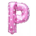 """ลูกโป่งฟอยล์รูปตัวอักษร P สีชมพูพิมพ์ลายหัวใจ ไซส์เล็ก 14 นิ้ว - P Letter Shape Foil Balloon Size 14"""" Pink color printing Heart"""