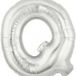 """ลูกโป่งฟอยล์รูปตัวอักษร Q สีเงิน ไซส์เล็ก 14 นิ้ว - Q Letter Shape Foil Balloon Size 14"""" Silver Color"""