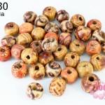 ลูกปัดไม้ กลม คละลาย 9มิล (450เม็ด) 1 ขีด