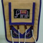 กระเป๋าผ้าปัก ลายช้างสีม่วง สายสะพายข้างปรับสายได้ ติดซิปด้านนอกและด้านใน