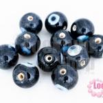 ลูกปัดแก้ว ลูกตา สีดำ 12 มิล(1ขีด/55ชิ้น)