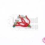 พู่ลูกปัดจีน สีแดง+หินแตกหยก (เล็ก) ยาว 3.5 ซม. (1ชิ้น)