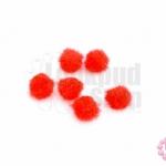 ปอมกำมะยี่ สีแดง 0.6ซม.(100ชิ้น)