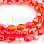 คริสตัลจีน ทรงหยดน้ำ สีแดงรุ้ง 6มิล(1เส้น)