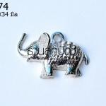 จี้รูปช้าง สีโรเดียม 24X34 มิล (1ชิ้น)