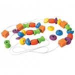 ของเล่นเด็ก ของเล่นไม้ ของเล่นเสริมพัฒนาการ Lacing Beads ลูกปัดร้อยเชือก (ส่งฟรี)