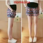 PK9305 กางเกงขาสั้นคนท้องแฟชั่น เอวเลื่อนได้ตามอายุครรภ์ มีผ้าพยุงท้อง ใส่ในวันสบาย