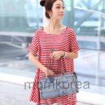 MS178  เสื้อคลุมท้องแฟชั่นเกาหลี โทนสีแดงลายขวาง แขนสั้น เนื้อผ้านิ่มมากๆ ค่ะ ใส่สบาย ใส่คู่กับเลกกิ้งดุเมทกันมากๆ
