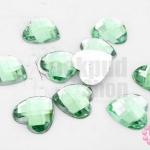 เพชรแต่ง หัวใจ สีเขียว ไม่มีรู 14มิล(10ชิ้น)