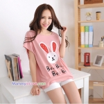 เสื้อคลุมท้อง ลายกระต่ายหน้ายิ้มหูแดง : สีชมพู รหัส SH154