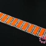 เพชรแถวแบบรีดติด สี่เหลี่ยมสีส้ม (1แถว)