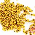 ลูกปัดพลาสติกเคลือบสีทอง กลม 3มิล(1ขีด/8,329ชิ้น)