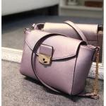 กระเป๋าแฟชั่นเกาหลีพร้อมส่ง รหัส SUIF0118PP สีม่วง สายโซ่ทอง น่ารักค่ะ