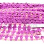 พู่ไหมเส้นยาว พู่สีม่วงแถบสีกะปิ กว้าง 1.5ซม(1หลา/90ซม)